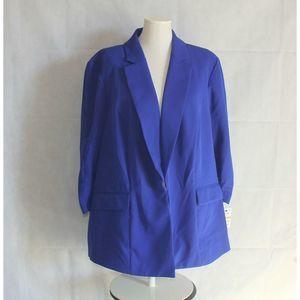 Inc. Plus 3X Blazer Blue Ruched Sleeve